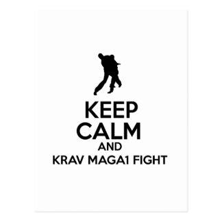 Keep Calm And Krav Maga Fight Postcard
