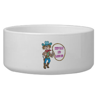 Keep Calm And Lasso On Pet Water Bowl