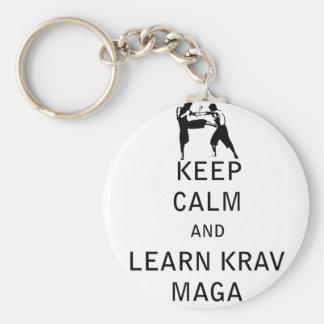 Keep Calm and Learn Krav Maga Basic Round Button Keychain