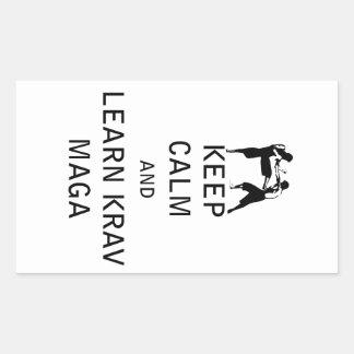 Keep Calm and Learn Krav Maga Rectangular Sticker