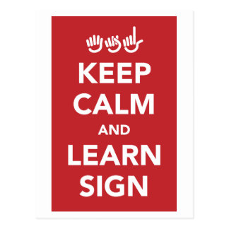 Keep calm and learn sign. postcard.