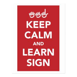 Keep calm and learn sign. postcard. postcard