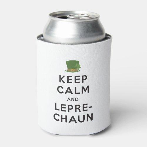 Keep Calm and Leprechaun Black Text Can Cooler