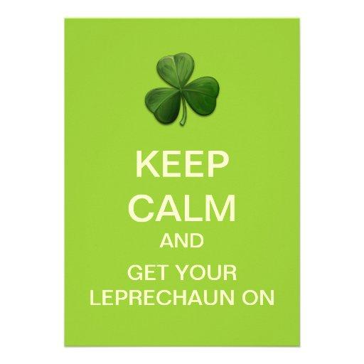 KEEP CALM And LEPRECHAUN On Custom Invitation