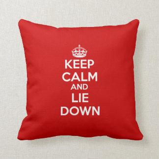 Keep calm and Lie Down Throw Pillow