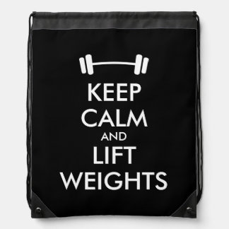 Keep calm and lift weights drawstring bag for gym
