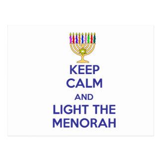 Keep Calm and Light the Menorah Postcard