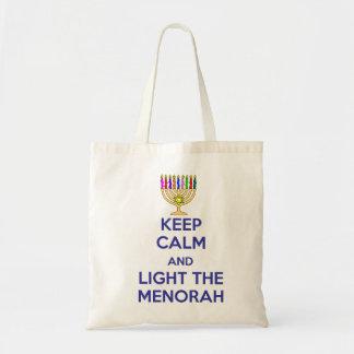 Keep Calm and Light the Menorah Tote Bag