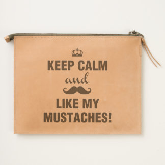 Keep Calm and like my mustaches funny quote Travel Pouch