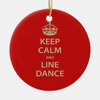 Keep Calm and Line Dance Double-Sided Ceramic Round Christmas Ornament
