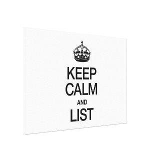 KEEP CALM AND LIST CANVAS PRINT