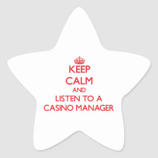 Keep Calm and Listen to a Casino Manager Star Stickers
