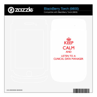 Keep Calm and Listen to a Clinical Data Manager Decal For BlackBerry