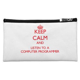 Keep Calm and Listen to a Computer Programmer Makeup Bag