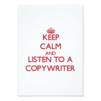 "Keep Calm and Listen to a Copywriter 5"" X 7"" Invitation Card"