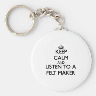 Keep Calm and Listen to a Felt Maker Keychains