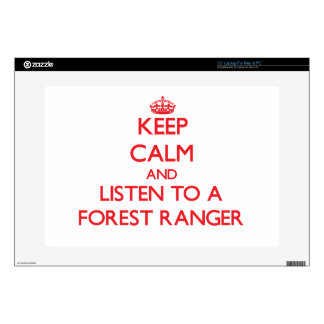 Keep Calm and Listen to a Forest Ranger Laptop Decal