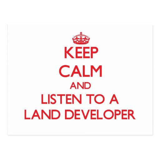 Keep Calm and Listen to a Land Developer Postcard
