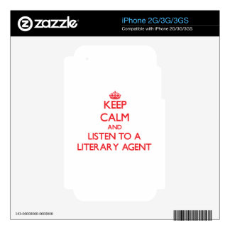 Keep Calm and Listen to a Literary Agent iPhone 3GS Skins