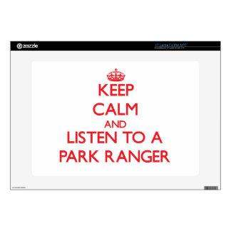 Keep Calm and Listen to a Park Ranger Laptop Skin