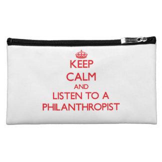 Keep Calm and Listen to a Philanthropist Makeup Bags