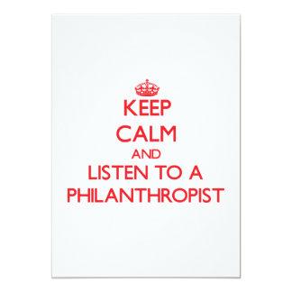 "Keep Calm and Listen to a Philanthropist 5"" X 7"" Invitation Card"