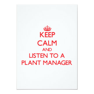 Keep Calm and Listen to a Plant Manager Personalized Invites