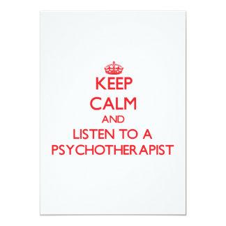 Keep Calm and Listen to a Psychoarapist Custom Invitations