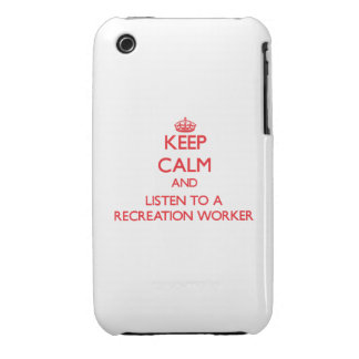 Keep Calm and Listen to a Recreation Worker Case-Mate iPhone 3 Case