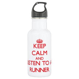 Keep Calm and Listen to a Runner 18oz Water Bottle