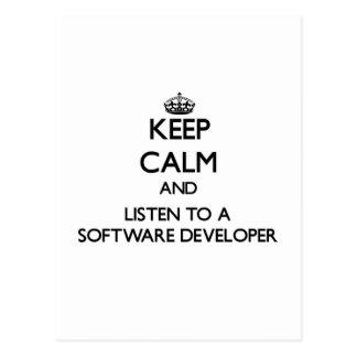 Keep Calm and Listen to a Software Developer Postcards