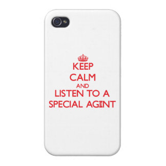 Keep Calm and Listen to a Special Agent Cover For iPhone 4