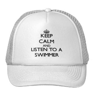 Keep Calm and Listen to a Swimmer Mesh Hat