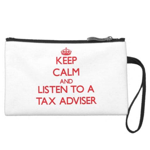 Keep Calm and Listen to a Tax Adviser Wristlet Clutches