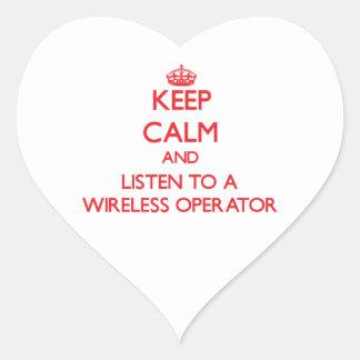 Keep Calm and Listen to a Wireless Operator Heart Sticker
