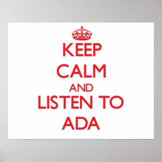 Keep Calm and listen to Ada Print