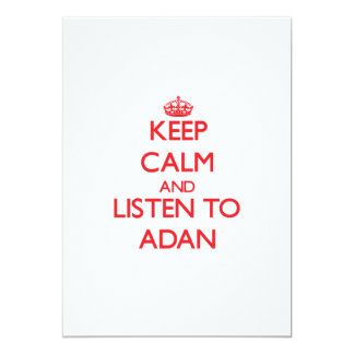 Keep Calm and Listen to Adan 5x7 Paper Invitation Card