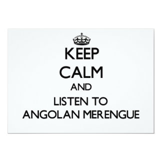 Keep calm and listen to ANGOLAN MERENGUE 5x7 Paper Invitation Card