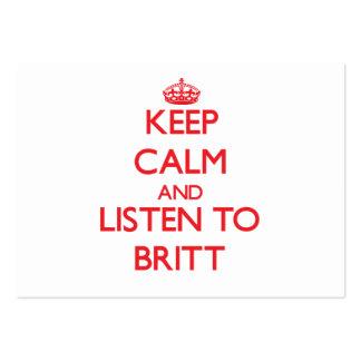 Keep calm and Listen to Britt Business Card