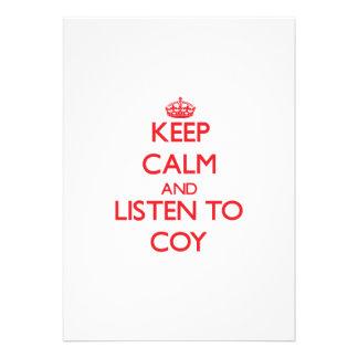 Keep Calm and Listen to Coy Custom Invitations