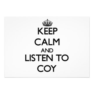 Keep Calm and Listen to Coy Personalized Invite