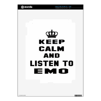 Keep calm and listen to Emo. Skin For The iPad 2