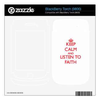 Keep Calm and listen to Faith Decals For BlackBerry