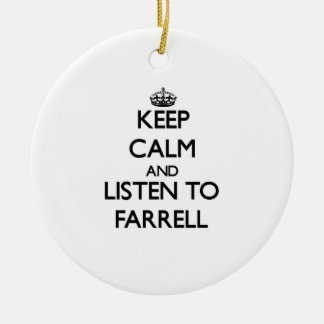 Keep calm and Listen to Farrell Double-Sided Ceramic Round Christmas Ornament