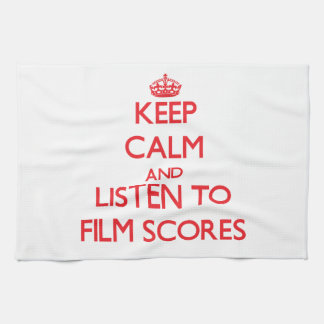 Keep calm and listen to FILM SCORES Hand Towel