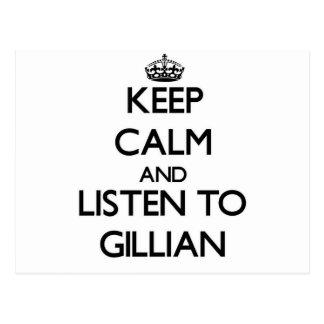 Keep Calm and listen to Gillian Postcard