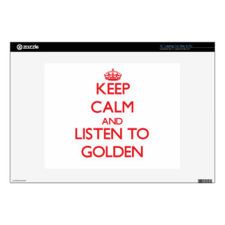 "Keep calm and Listen to Golden 12"" Laptop Skin"