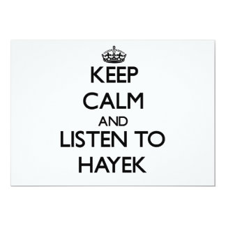 Keep calm and Listen to Hayek 5x7 Paper Invitation Card