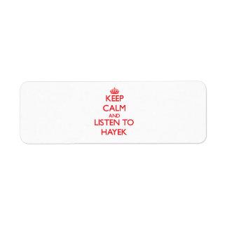 Keep calm and Listen to Hayek Return Address Label