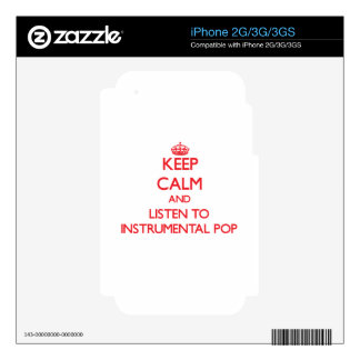 Keep calm and listen to INSTRUMENTAL POP iPhone 3 Decals